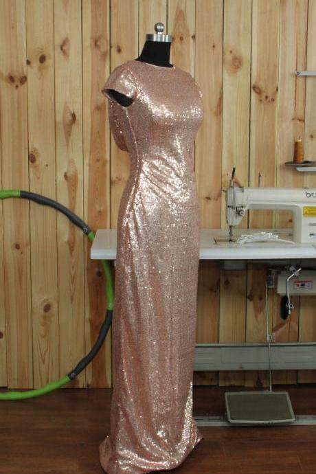 Rose Gold Prom Dresses, Cap Sleeve Luxury Prom Dresses, Sequin Bridesmaid Dress,Sparkle Party DressES, Sexy Bridesmaid Dresses,Bridesmaid Dress,Prom Dress