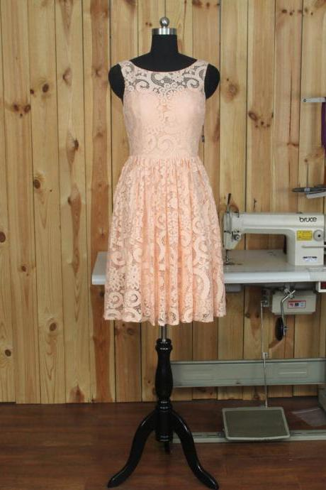 2017 Peach Bridesmaid Dresses, Lace Short Prom Dress, Short Bridesmaid Dresses, A line Evening Dess, Cute Homecoming Dresses,Sweet 16 Dresses