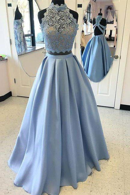 Blue Prom Dresses,Two Pieces Prom Dresses, Lace Long Prom Dress, A-line Prom Dress, Backless Prom Party Dress, Sexy Evening Dress, 2 Pieces Prom Dresses, Senior Prom Dress,Prom Dress