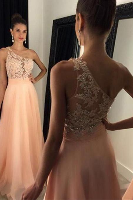 Sexy Backless Prom Dress,Chiffon Beading Prom Dress,One Shoulder Evening Dress, Peach Chiffon Prom Gown,Long Prom Dress,Prom Dresses 2017,Prom Dress