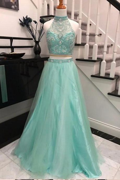 Backless Prom Dresses,Beaded Prom Dress,Two Pieces Evening Dress,2 Pieces Evening Dress,Two Pieces Prom Dress,High-neck Prom Dresses,Long Prom Gown,Prom Dress