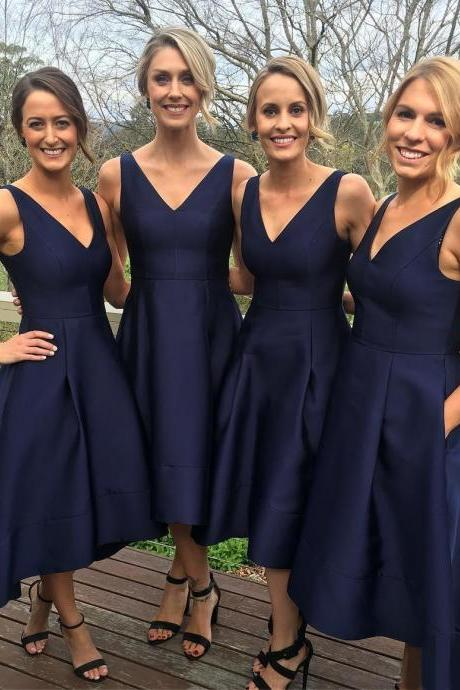 Classic Bridesmaid Dress,Short Bridesmaid Dress,A-line Bridesmaid Dresses,Navy Blue Bridesmaid Dress,HIgh Low Bridesmaid Dress,Simple Bridesmaid Gown,Bridesmaid Dress