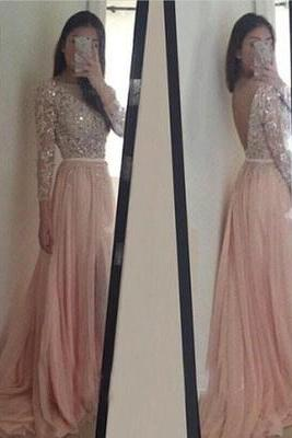 Blush Pink Prom Dresses, Long Sleeves Evening Dresses,Long Party Dress, A Line Prom Dresses, Lace Evening Dress, Chiffon Prom Dress,Prom Dress