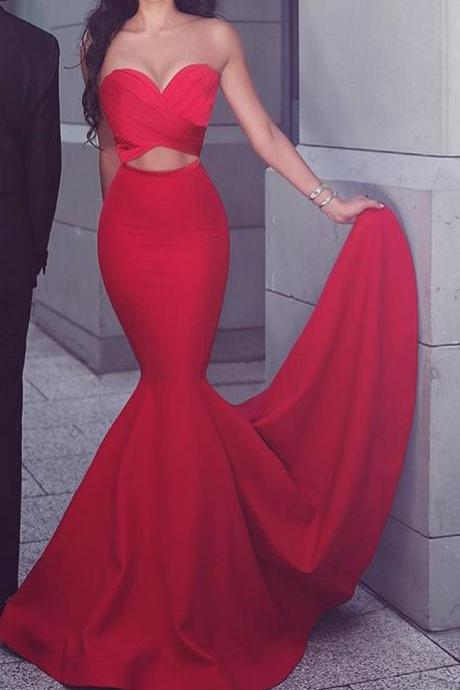 Red Prom Dresses,Mermaid Prom Dress,Strapless Prom Dress,Satin Long Prom Dress,Red Formal Gown,Sexy Evening Dresses,Prom Dress