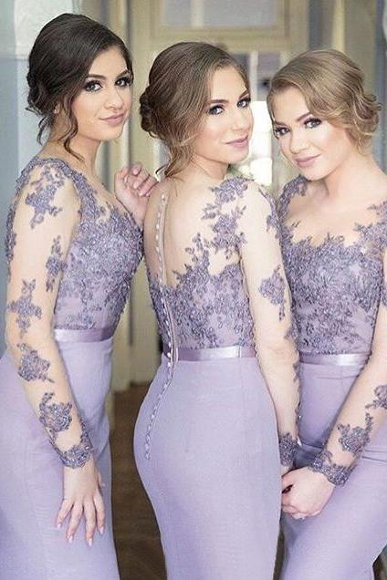 Custom Made Lavender Purple Long Sleeve Lace Applique Mermaid Bridesmaid Dress with Button Back