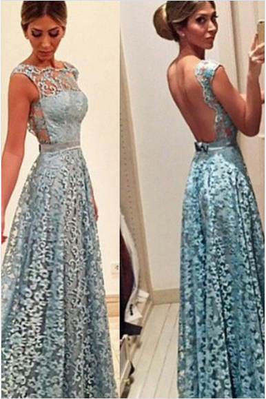Lace Prom Dresses,Open Back Prom Dress,Sleeveless Prom Dress,Blue Formal Gown,A Line Prom Dress,Appliques Evening Dress,Lace Evening Dresses,Blue Prom Dress,Prom Dress