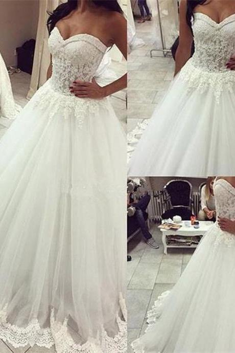 Long Wedding Dress,A-line Wedding Dresses,Sweetheart Wedding Gown,Lace Bridal Gown, Wedding Party Dresses,Ball Gown Wedding Dresses,Princess Wedding Dresses, Plus Size Wedding Dress,Wedding Dress