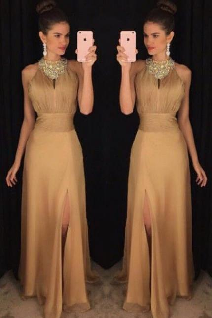 A-Line Prom Dresses,Jewel Long Prom Dress, Gold Prom Dresses,Stretch Satin Prom Dress with Beading,Split Prom Dress,Prom Dress