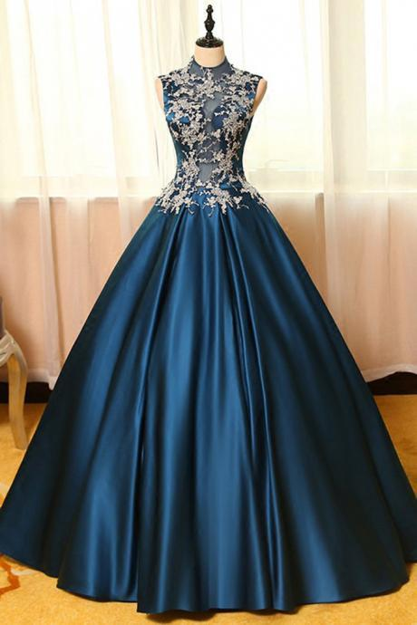 Blue Prom Dreses,satins Prom Gown,Ball Gown Prom Dresses, lace applique Prom Dress,A-line long prom dresses,ball gown dresses,Prom Dress,Quinceanera-Dresses