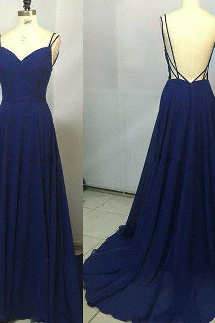 Simple Prom Dresses, A-Line Prom Dress,Spaghetti Straps Prom Dresses,Backless Prom Dress, Royal Blue Prom Dresses,Long Prom Dress,Prom Dress
