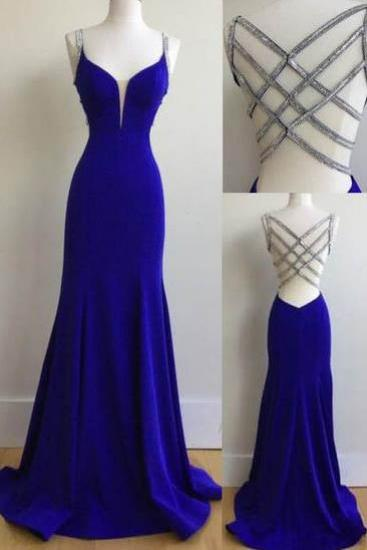 Sexy Prom Dresses,Mermaid Prom Dress, Spaghetti Straps Prom Dresses, Royal Blue Prom Dresses, Long Prom Dress with Beading,Sexy Evening Dresses,Prom Dress