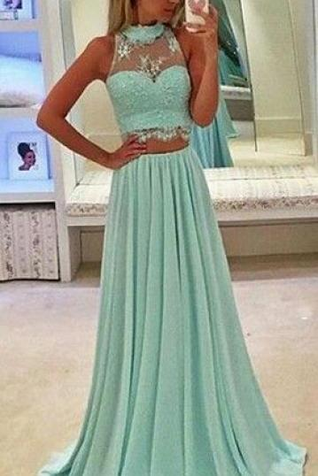 Fashion Prom Dresses, Long Prom Dress,Two Piece Prom Dresses,Halter Neckline Prom Gown,Green Prom Dress,2 Pieces Evening Dresses,Prom Dress