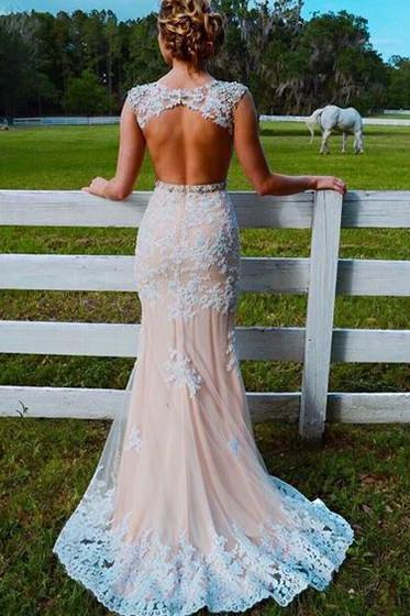 Trumpet/Mermaid Prom Dresses,Scoop Neck Prom Dress,Tulle Prom Dresses With Sweep Train, Appliques Lace Prom Dresses,Champagne Prom Dresses,Pretty Prom Dresses, Prom Dress