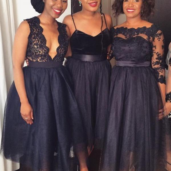 Midi Bridesmaid Dresses,A Line Bridesmaid Dress,Tulle Bridesmaid Dresses,Custom Bridesmaid Dresses, Navy Blue Prom Dresses,Wedding Party Dresses,Lace Bridesmaid Dress,Bridesmaid Dress