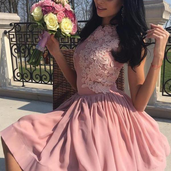 Stylish Prom Dresses,A-Line Homecoming Dress,Jewel Homecoming Dresses,Sleeveless Prom Dresses,Pink Homecoming Dresses,Short Homecoming Dress,Appliques Homecoming Dresses