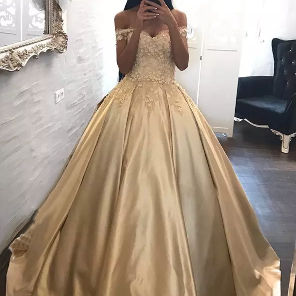 Princess Prom Dresses,A-Line Prom Gown,Off-Shoulder Prom Dress,Ball Gown,Champagne Prom Dresses,Long Evening Dress