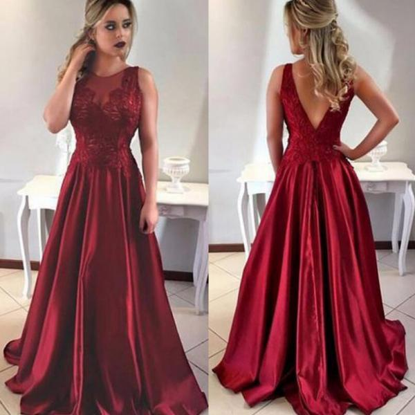 Burgundy Prom Dress,2018 Prom Dresses,Long Evening Gown,Graduation Party Dresses,Prom Dresses For Teens,A Line Prom Dress