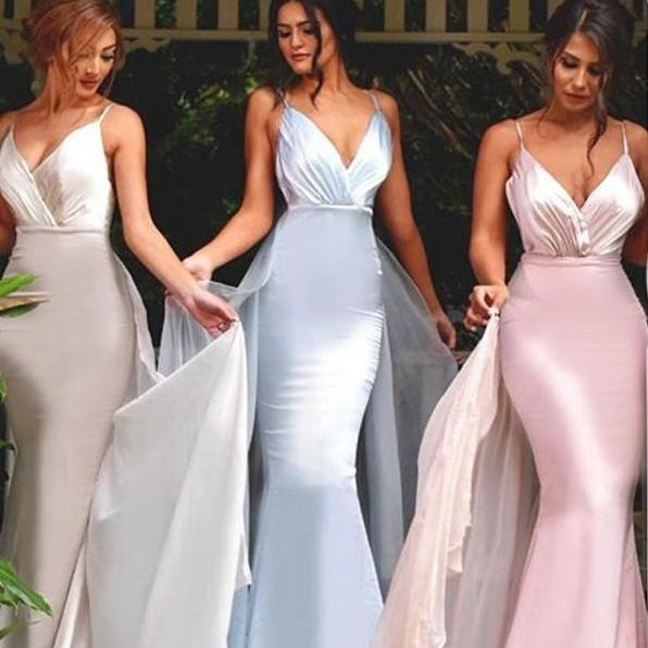 Custom Made Cami V-Neckline Satin Long Mermaid Bridesmaid Dresses with Train