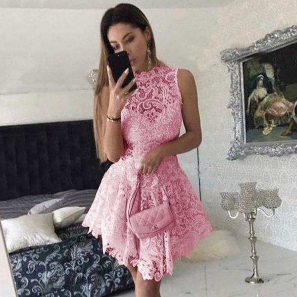 Lace Homecoming Dresses, Princess Homecoming Dresses, Short Prom Dress, Pink Homecoming Dresses, Sweet 16 Dresses DS322