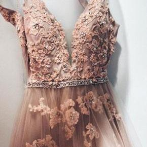 Lace Appliques Prom Dresses,Floor Length Prom Dress, Formal Evening Dress,Tulle Prom Dresses DS607