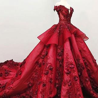 Red Prom Gown,Ball Gown Prom Dress With Beads, Quinceanera Dresses,Sweet 16 Dresses DS612