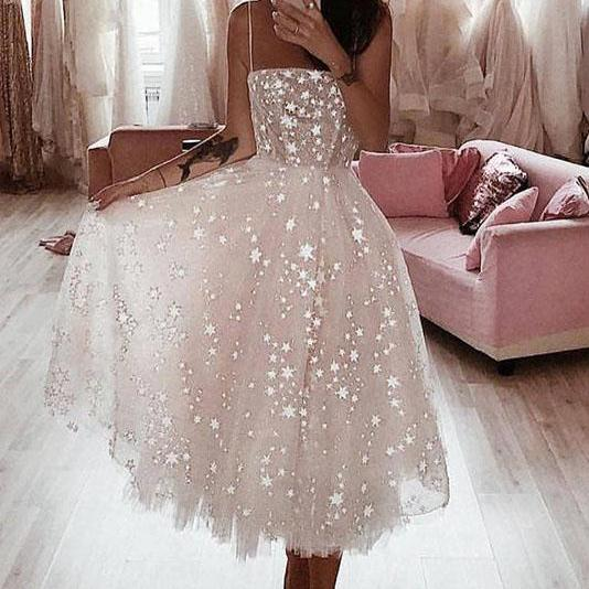 A Line Prom Dress Spaghetti Straps Prom Dresses,Tea Length Pearl Pink Homecoming Dress With Stars DS616