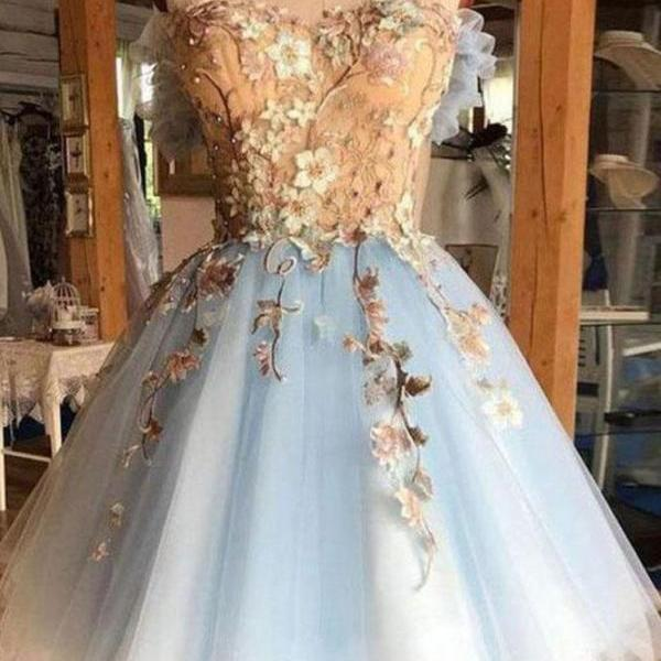 Gorgeous Hoco Dress,Sweetheart Homecoming Dresses,Light Blue Homecoming Dress,Tulle Short Prom Dress DS620