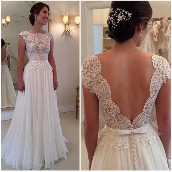 Sexy Open Back Lace Chiffon White Wedding Dresscap Sleeves Custom Mace Cheap Gowns