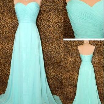 Simple A Line Light Blue Chiffon Long Bridesmaid Dress Sweetheart Bodice Floor Length Bridesmaid Dresses Lace Back Up Mother Of The Bride Dress Communion Dress Graduation Dress Elegant Prom Dress