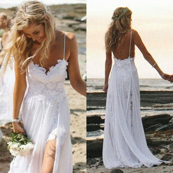 Spaghetti straps white lace chiffon backless beach wedding dress 2015 v neck open back sexy wedding dresses custom made front split bridal wedding gown a line bridal dress long prom dress