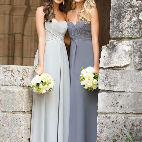A Line Sweetheart Grey Chiffon Long Bridesmaid Dress Bodice Empire Waist Bridesmaid Dresses Cheap Custom Made Mother Of The Bride Dress Communion Dress Graduation Dress Simple Prom Dress