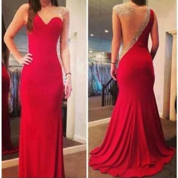 Red Chiffon Mermaid Long Prom Dress See Through Back Cheap Prom Dresses Custom Made Trumpet Evening Dress,Beadings Evening Prom Gown Graduation Dress