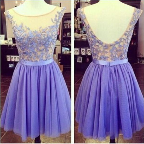 Hot Sales Lilac Lace Tulle Short Prom Dress Homecoming Dress Open Back Cocktail Dress See Through Sexy Wedding Party Dress,Graduation Dress
