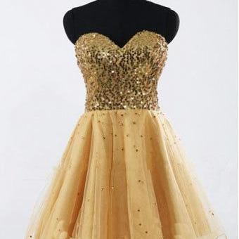 Gold Sequin Sweetheart Short Prom Dress Homecoming Dresses Mini Length Wedding Party Dress Custom Made Bridesmaid Dress Graduation Dresses