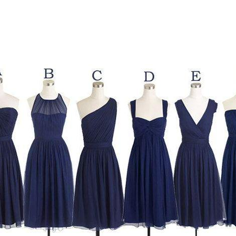 Short Bridesmaid Dresses Navy Blue Chiffon Bridesmaid Dress Mismatch Maid of Honor Dress Girls Group Dress in Knee Length,Simple Cheap Prom Dress