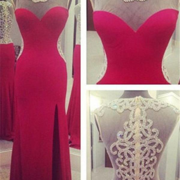 Red Long Prom Dresses,Front Split Sheath Prom Dresses,Beaded See Through Evening Prom Dress,High Neck Prom Gown 2016
