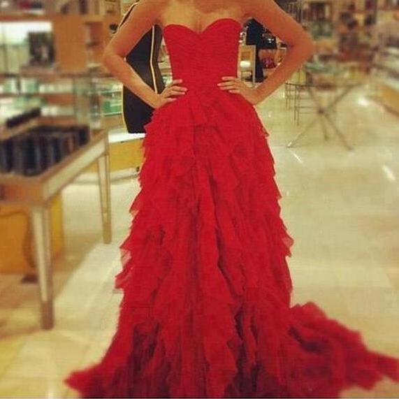 A Line Princess Red Ball Gown Prom Dresses,Sweetheart High Low Tiered Long Prom Gowns,Layers Graduation Dresses,Evening Prom Gown 2016,Wedding Party Dresses