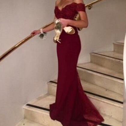 Burgundy Drop Sleeves Mermaid Prom Dresses,V Back Open Back Lace Prom Dress,Wine Red Sexy Evening Dress Party Gowns