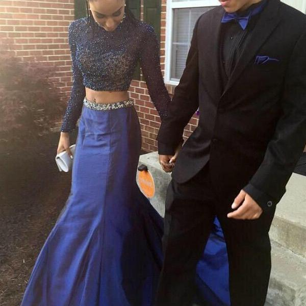 Long Sleeves Two Pieces Prom Dresses,High Neck Sheath Prom Dresses,See Through 2 Pieces Evening Gowns,Wedding Party Dress,Royal Blue Prom Gown