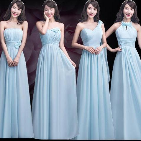 Elegant Sky Blue Chiffon Bridesmaid Dresses,Custom Made Ruffles Long Bridesmaid Dress Mismatch Maid of Honor Dress Girls Group Dresses,One Shoulder Cheap Bridesmaid Dresses,Off the Shoulder Bridesmaid Gowns