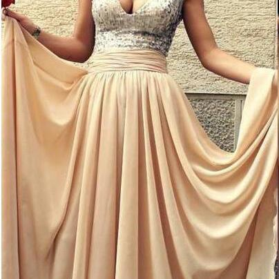 Sequin Prom Dresses,Beading Prom Dress,2017 Prom Dress, Dresses For Prom,Chiffon Bridesmaid dress, Long Formal Dresses,Prom Dress