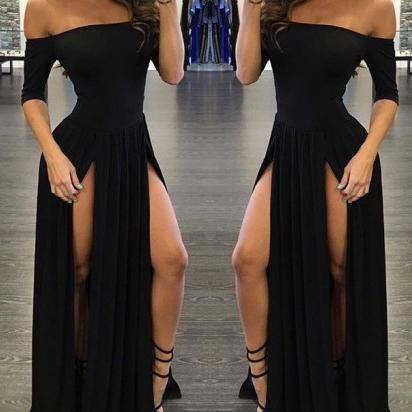 Sexy Prom Dresses,Chiffon Prom Dress,Off-the-shoulder Prom Gown With Split, Half-Sleeve Black Prom Dress,Black Party Dresses,Prom Dress PD016